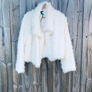 Off White Faux Fur Jacket -Wild Fable